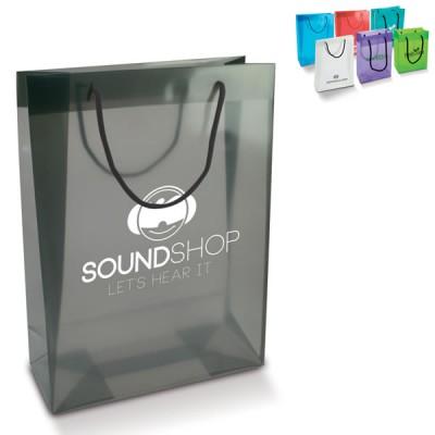 Grand sac plastique publicitaire Dimensions : 28 x 11 x 38 cm