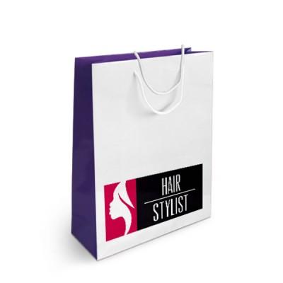 sac papier publicitaire personnalisé quadrichromie Dimensions : 18 x 23 x 8 cm