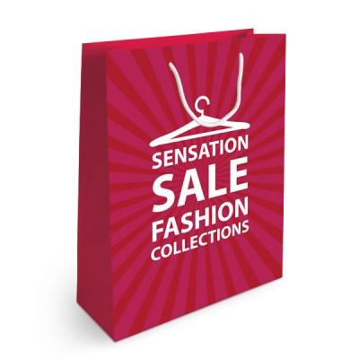 sac papier publicitaire quadrichromie Format vertical Dimensions : 32 x 42 x 12 cm