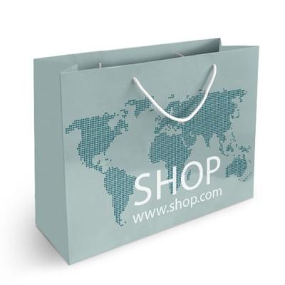 sac papier publicitaire quadrichromie Format horizontal Dimensions : 41,5 x 32 x 14 cm