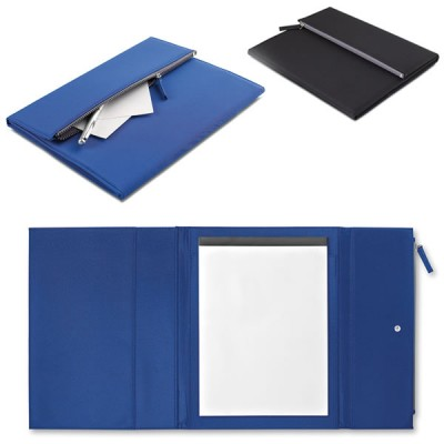 Conférencier A4 publicitaire avec bloc papier blanc de 50 pages et trousse stylos, fermeture par bouton pression