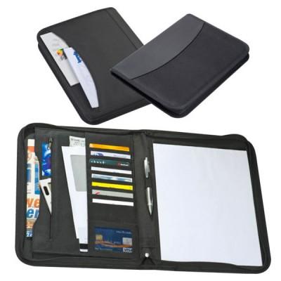 Conférencier a4 personnalisé, noir avec bloc notes, rangement documents et cartes de visite, fermeture éclair et poche externe
