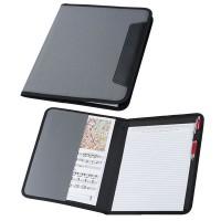 Conférencier A4 personnalisé gris avec bloc 20 pages, poche documents et passant stylo