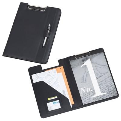 Conférencier à pince personnalisé pas cher, couleur noir, bloc papier et rangement documents