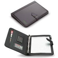 Conférencier classeur A4 personnalisé avec bloc papier, calculatrice et rangements documents et cartes de visites