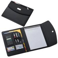 Conférencier A4 publicitaire personnalisable noir avec bloc papier, calculatrice, nombreux rangements documents et cartes de visite