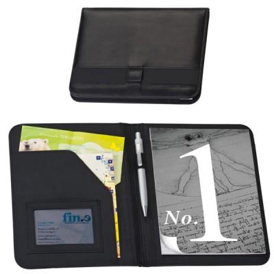 Conférencier A5 personnalisé, couleur noir avec bloc papier, rangement documents et cartes de visite, passant stylo