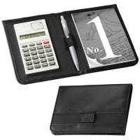 Petit conférencier publicitaire pas cher avec calculatrice et bloc papier. Couleur : noir