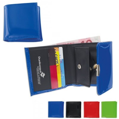 Porte-monnaie simili cuir couleur personnalisé avec rangement billets et compartiment pour la monnaie à fermeture pression et 4 rangements carte bancaire. Porte monnaie publicitaire couleur : noir vert rouge bleu