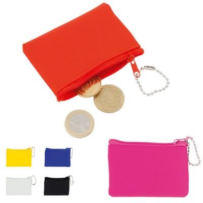 Porte-monnaie pas cher publicitaire à fermeture éclair coloris : noir, bleu, blanc, jaune, rose, rouge