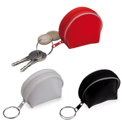 Porte-monnaie personnalisé à fermeture éclair et anneau porte-clés. Porte-monnaie publicitaire pas cher couleur noir blanc rouge