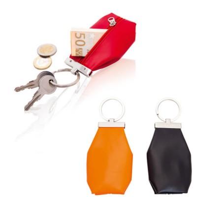Porte-monnaie personnalisé en simili cuir coloré à fermeture éclair et anneau porte-clés. Porte monnaie publicitaire couleur rouge noir orange
