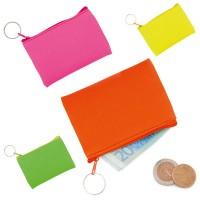 Porte-monnaie personnalisé aux couleurs acidulées à fermeture éclair et anneau. Porte-monnaie publicitaire coloris vert jaune rose rouge
