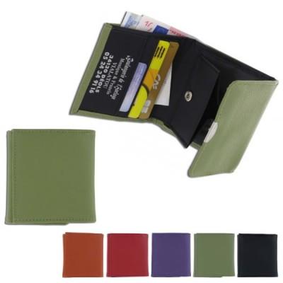 Porte-monnaie personnalisé en simili cuir haut de gamme avec poche billets et compartiment pour la monnaie à fermeture pression et rangements carte de crédit. Porte-monnaie publicitaire pas cher couleur : noir orange rouge vert violet.