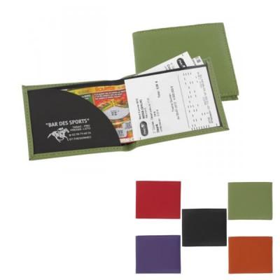 Porte Ticket PMU Loto personnalisé objet publicitaire pour café bar tabac jeux loto pmu. Coloris : noir vert orange rouge violet