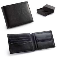 Portefeuille personnalisé publicitaire en cuir noir Objet publicitaire luxe