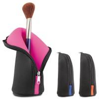 Trousse à maquillage professionnel personnalisé noire avec intérieur couleur (rose, bleu, orange)