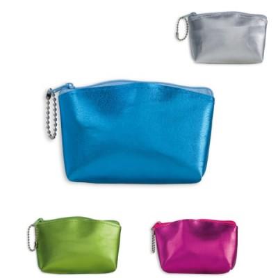 Petite trousse à maquillage personnalisée aux couleurs brillantes (argenté, bleu, vert, rose).