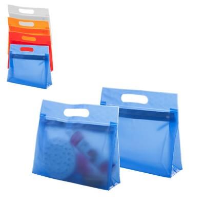 Trousse à maquillage personnalisée en PVC couleur semi transparent avec poignée et fermeture éclair