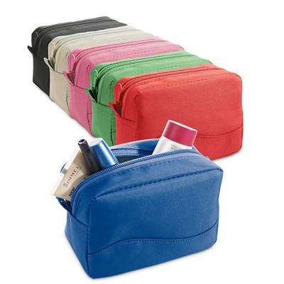 Trousse à maquillage et cosmétique publicitaire personnalisé, coloris noir, bleu, beige, vert, rouge, rose