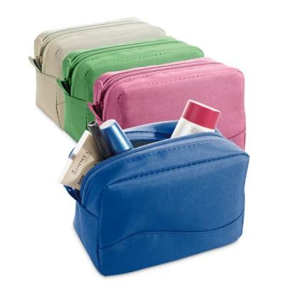 Petite trousse à maquillage personnalisée pour sac de voyage à fermeture éclair. Trousse de toilette publicitaire : bleu, vert, beige, rose