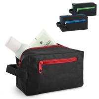 Trousse à maquillage personnalisée noire avec fermeture éclair en couleur (rouge, bleu, vert) et poche à l'avant