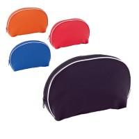 Trousse à maquillage ronde publicitaire, couleur : noir, orange, rouge, bleu