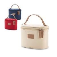 Trousse à maquillage de voyage personnalisée grand espace rangement, anse simili cuir, coloris : beige, bleu, rouge