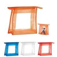 Trousse à maquillage personnalisée en PVC transparent, couleur bleu, blanc, rouge, orange