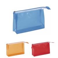 Trousse à maquillage personnalisée publicitaire en PVC couleur transparent (bleu, orange, rouge).
