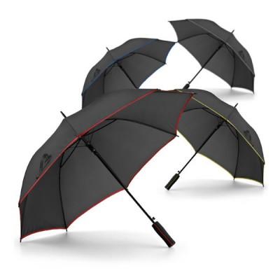 Grand parapluie personnalisé noir avec bordure en couleur (gris, bleu, jaune, rouge), parapluie personnalisable automatique.