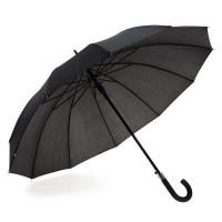 Parapluie personnalisé automatique noir, 12 baleines avec poignée finition caoutchoutée