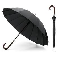 Grand parapluie noir personnalisé, ouverture automatique, 16 baleines et poignée bois. Parapluie luxe publicitaire.