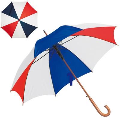 Parapluie supporter équipe de France (bleu, blanc, rouge) personnalisé publicitaire avec poignée courbée en bois.