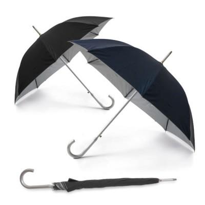 Parapluie aluminium personnalisé, toile noir ou bleu avec intérieur gris, 8 baleines, ouverture automatique