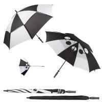 Parapluie damier personnalisé. Parapluie golf publicitaire avec toile damier noir et blanc
