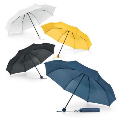 Petit parapluie pliant personnalisé, coloris : blanc, noir, bleu, jaune. Housse de transport couleur assortie. Parapluie de poche publicitaire