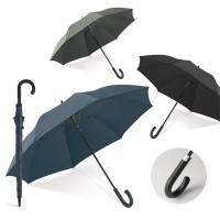 Grand parapluie personnalisé avec manche et 8 baleines en fibre de verre coupe vent, ouverture automatique et poignée finition caoutchoutée. Coloris : noir, gris, bleu