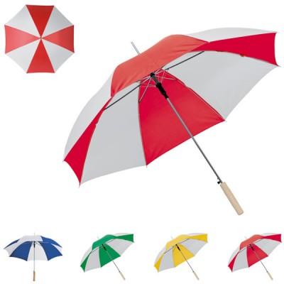 Parapluie golf personnalisé bicolore, coloris : bleu blanc, blanc rouge, vert blanc, jaune blanc. Parapluie publicitaire 2 couleurs poignée en bois