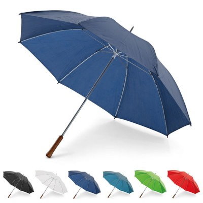 Parapluie Golf personnalisé, 8 baleines, ouverture manuelle, poignée bois, coloris : noir, blanc, bleu, vert, vert clair, rouge