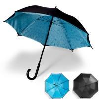 Parapluie personnalisé avec toile intérieure gouttes d'eau et extérieur noir. Parapluie publicitaire original.