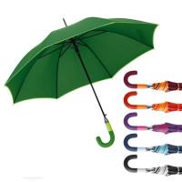 Parapluie publicitaire personnalisable pas cher avec poignée courbée, toile bicolore