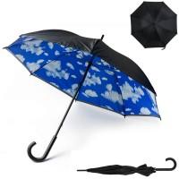 Parapluie nuages personnalisé avec toile intérieure ciel et nuages et extérieure noir, 8 panneaux