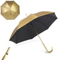 Parapluie doré personnalisé avec toile extérieure doré intérieure noir. Parapluie publicitaire
