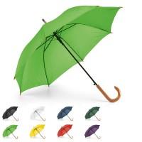 Parapluie personnalisé, ouverture automatique, poignée canne bois, 8 baleines, coloris : noir, blanc, bleu, vert, vert clair, jaune, rouge, violet