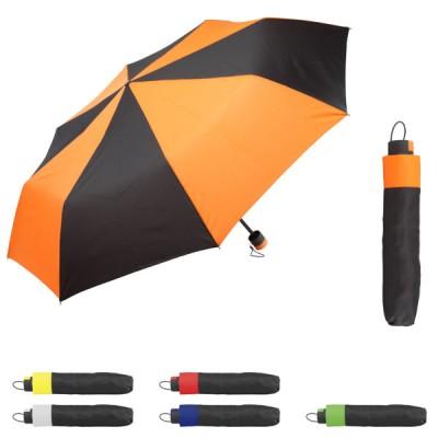 Parapluie personnalisé avec toile bicolore 8 panneaux, coloris noir, bleu, vert, jaune, orange, rouge. Parapluie pliant publicitaire.