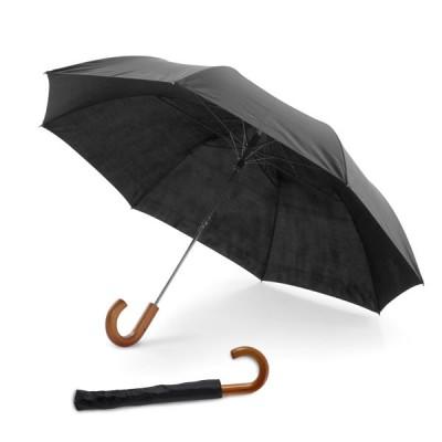 Parapluie personnalisé pliant noir, 8 baleines, ouverture automatique, poignée en bois