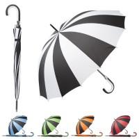 Parapluie personnalisé 16 panneaux bicolore, parapluie publicitaire tempête en fibre de verre, poignée canne en eva