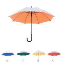 Parapluie personnalisé toile 2 tons : extérieure argenté et intérieure couleur (bleu, vert, jaune, orange, rouge). parapluie publicitaire ouverture automatique.