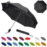 Petit parapluie pliant personnalisé avec sa housse, coloris : noir, gris, bleu marine, bleu, bleu clair, vert, vert clais, jaune, orange, rouge, bordeaux, rose, violet, marron